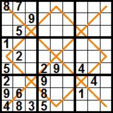 sudoku diamant X - SOLUTIE