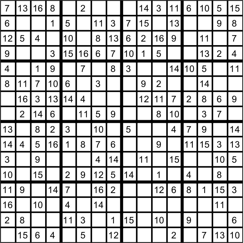 picture about Sudoku 16x16 Printable identified as Sudoku 16x16